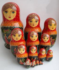 Vintage 15Pcs Signed Matryoshka Russian Fairy Tale Nesting Doll Magnificent 1998
