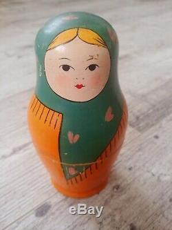 Vintage 1930s USSR Russian Babushka Matryoshka Nesting Dolls(6) Very Rare