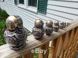 Vintage 1994 Signed Russian Nesting Dolls Hand Painted Matryoshka