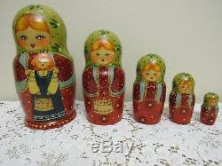 Vintage 1997 SIGNED Russian 7 NESTING Dolls Set of 5 Matryoshka Girls with Dolls
