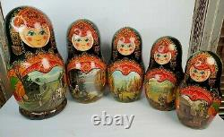 Vintage 20-Piece Russian Nesting Dolls Set Signed and Dated 1992 withone missing