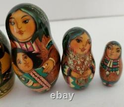 Vintage 5 piece Russian Nesting Dolls Alaska Inuit Woman Girl Dog Signed