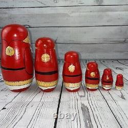 Vintage 6-Pc Russian Nesting Dolls -MATRYOSHKA -SANTA CLAUS Hand Painted/Carved