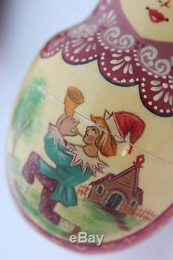 Vintage 9Pcs Signed Matryoshka Russian Fairy Tale Nesting Doll Magnificent 1998