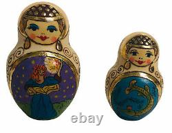 Vintage 9 Wooden Hand-Painted Russian Nesting Dolls 10pc Set Artist Signed 1997