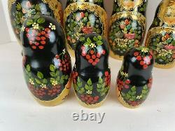 Vintage Authentic Russian Matryoshka Nesting Dolls 15 piece set Gold Leaf