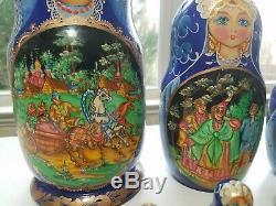 Vintage Blue Russian Nesting Dolls signed Ceprueb Nocag Set of 10 Hand Painted