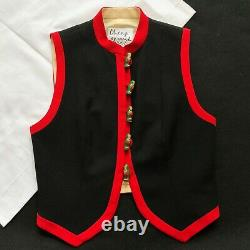 Vintage CHEAP and CHIC by MOSCHINO black red wool Russian Dolls buttons vest 10