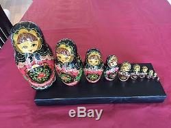 Vintage Cir. 1992 Hand Painted Russian Nesting Dolls Sergiev Posad Signed 10pc