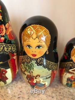 Vintage Circa 1992 Hand Painted Russian Matreshka Nesting Doll Zagorsk Signed -7