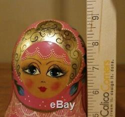 Vintage Complete Ceprueb Nocag Hand Painted Signed Russian Nesting Doll 10 Piece