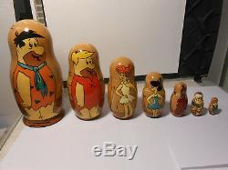 Vintage FLINSTONES 7 pc/ 8 1/4 Inch Tall Russian Nesting Doll SET /Artwork RARE