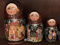 Vintage Fairytale Russian Nesting Dolls Set Of 7