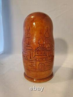 Vintage Hand Carved Religious Icon Wood Russian Nesting Dolls Rare