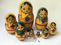 Vintage Hand Painted Russian Matryoshka Dolls 10 piece set 5 1/4 to 1/4