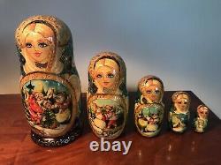Vintage Hand Painted Unique Russian Matryoshka Nesting Dolls