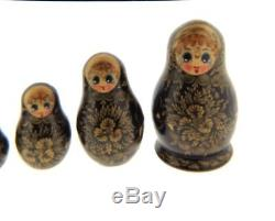 Vintage Handmade 7 Piece Set Russian Matryoshka Nesting Dolls Black