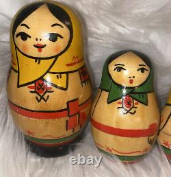 Vintage Matryoshka Nesting Dolls 6 Dolls In One Set Unique Design