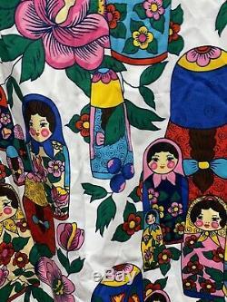 Vintage Matryoshka Russian Nesting Doll Curtains Panels