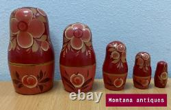 Vintage Original Rare Soviet Russian Wood Set Matryoshka 5 pcs