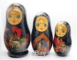 Vintage PALECH Style Russian Nesting Dolls 10pcs SET'RUSLAN I LUDMILA' Signed