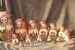 Vintage R. Ceprueb Nocag Hand Painted/Signed Russian Nesting Doll 18 Piece