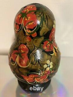 Vintage R. Ceprueb Nocag Hand Painted/Signed Russian Nesting Doll 5 Piece