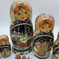 Vintage R. Ceprueb Nocag Hand Painted Signed Russian Nesting Dolls 11 Piece 9