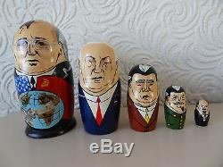 Vintage Russian Babushka dolls set of 5, unique made in 1992