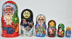 Vintage Russian Christmas/Santa Claus Nesting Dolls / 6 Wood Hand Painted Large