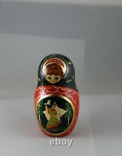 Vintage Russian Fairy Tales Hand Painted Laquer Matryoshka Nesting Dolls 1996