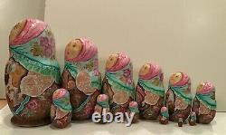 Vintage Russian Fedoskino Style 12 Nest. Dollgingerbread Beregova 1995