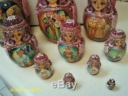 Vintage Russian Hand Painted 10 Piece Matryoshka Dolls, Russian Nesting Dolls