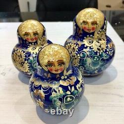 Vintage Russian Hand Painted Wooden Matroyoshka Babushka Nesting Dolls 17pc