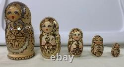 Vintage Russian Matreshka Birch Wooden Nesting Doll Hand Painted Gold Leaf