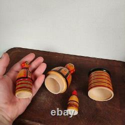 Vintage Russian Matroyshka Nesting Dolls, babushka stacking dolls