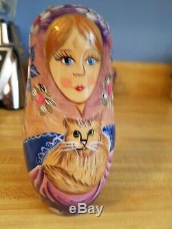 Vintage Russian Matryoshka Babushka Nesting Dolls 10 Cats Excellent Wood AMAZING