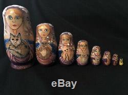Vintage Russian Matryoshka Babushka Nesting Dolls 8 Pc. Cats Excellent Wood
