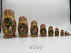 Vintage Russian Matryoshka Babushka Nesting Dolls Hand Painted 10 Pieces 10