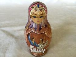 Vintage Russian Matryoshka Hand Painted Doll with Ballet Scenes 5 nested