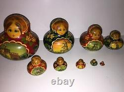 Vintage Russian Matryoshka Hand Painted Signed Traditional Wooden Nesting Dolls