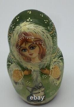 Vintage Russian Matryoshka Nesting Dolls ABT Nabymaha. H (Cats)
