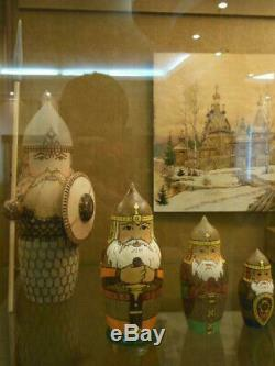 Vintage Russian Matryoshka Nesting Dolls Bogatyr Warriors