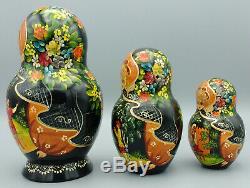 Vintage Russian Matryoshka Nesting Dolls Sergiyev Posad 7 Pieces Signed
