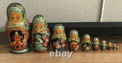 Vintage Russian Matryoshka Nesting Dolls signed Ceprueb Nocag Set of 10