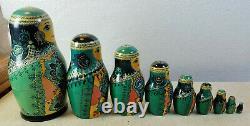 Vintage Russian Nesting Doll 9 Piece Blue Woman Kapthiwebo HH 1991 Ceprueh Nocaa