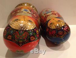 Vintage Russian Nesting Doll Fedoskino Style Gzhel Teapots 12 Pc 12.5 90-s