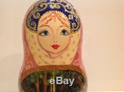 Vintage Russian Nesting Doll Fedoskino Style Russian Fairy Tale 10pc 10