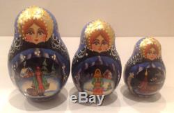 Vintage Russian Nesting Doll Fedoskino Style Russian Winter 15pc 10signed