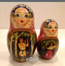 Vintage Russian Nesting Doll Fedoskino Style Villagers 10pc 10